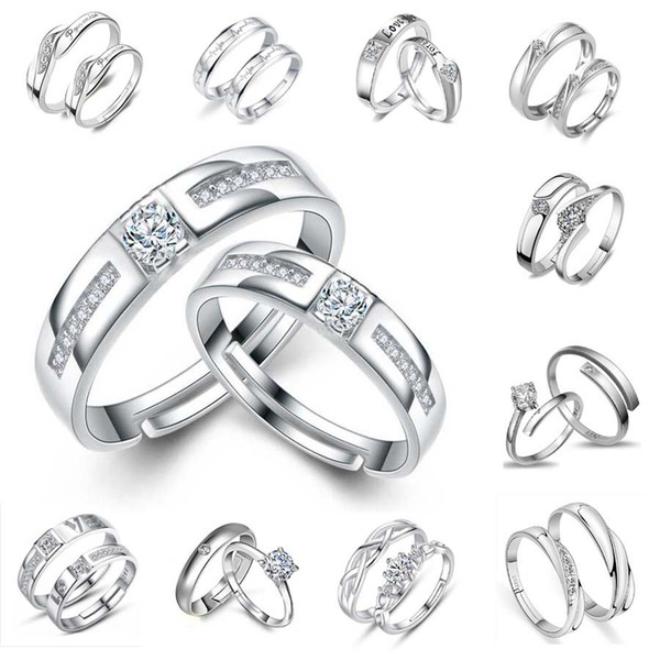 Ring Silver Couple rings for Lovers Hot Sale Crystal Charms Couple Band Rings Party Gift Jewelry Wholesale Free Shipping 0193WH