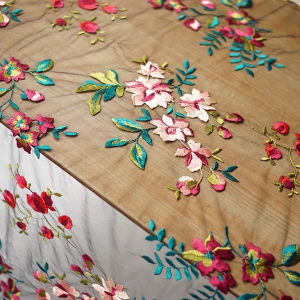 J20 Vintage macio macio pele-friendly cor de gaze bordado rosa tecido de renda tecido com rendas cor preta