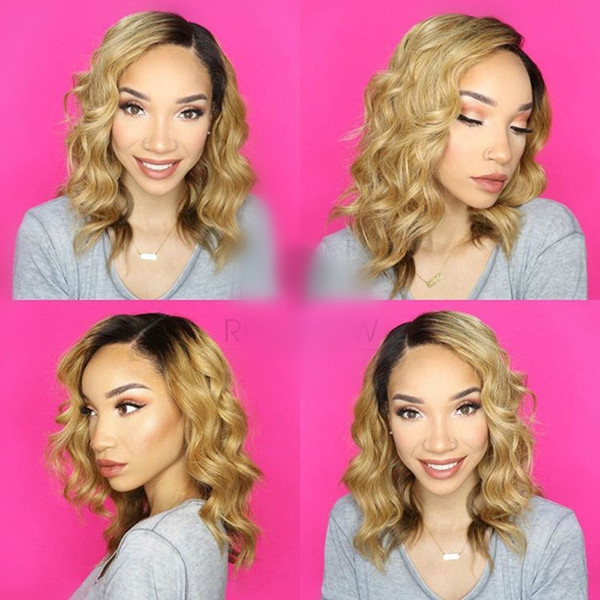 Good 150% density Brazilian Water Wavy Human Hair Lace Front Wigs silk top Full Lace Human Hair Wig #1bT#27 Ombre Human Hair Wig