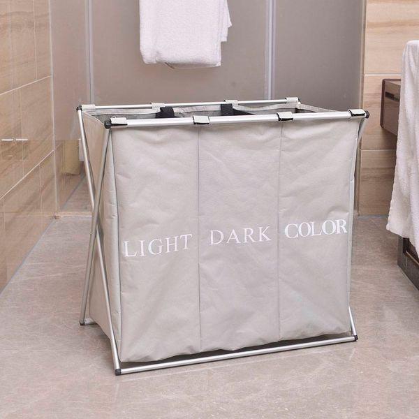 best selling Portable Three Lattice Laundry Basket Light Gray