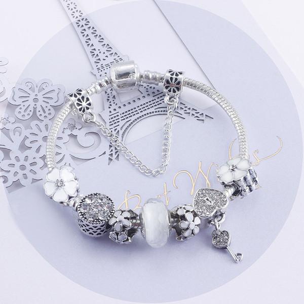 Fashion White Crystal Murano Lampwork Glass & European Charm Beads Heart Dangle Fits Charm Bracelets Necklace