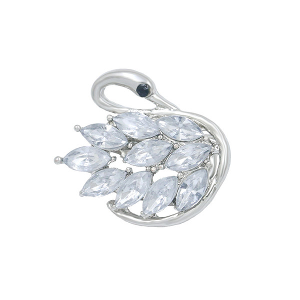 baiduqiandu Cute Crystal Small Swan Brooch Pins Lovers Animal Rhinestones Brooches for Women Wedding Party DIY Bouquet Jewelry