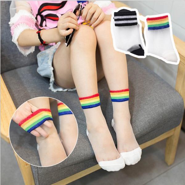 2019 Yaz çocuk şeffaf çorap Rahat Çorap Kristal Dantel siyah Çorap Nefes Kız Şeffaf gökkuşağı çorap