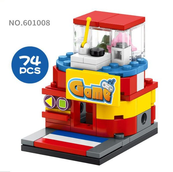 Mini World Little Shop Series Street View Building Mini blocks 74PCS Puzzle Toys Game Hall Gifts for Kids