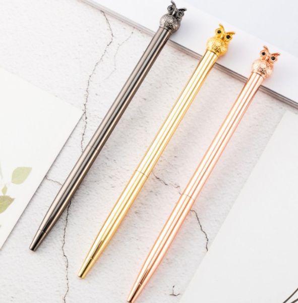 High-grade metal rotating ballpoint pen Owl shape pen Animal series signature metal pen
