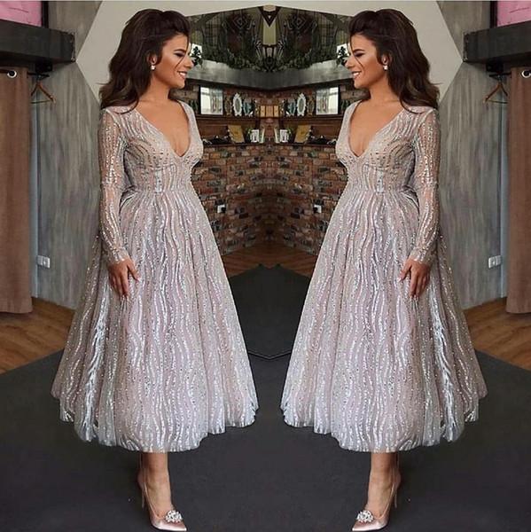 Vestidos de festa do Vintage branco de manga comprida curta A linha V Neck lantejoulas chá comprimento mãe de noiva vestidos de baile de formatura 1744