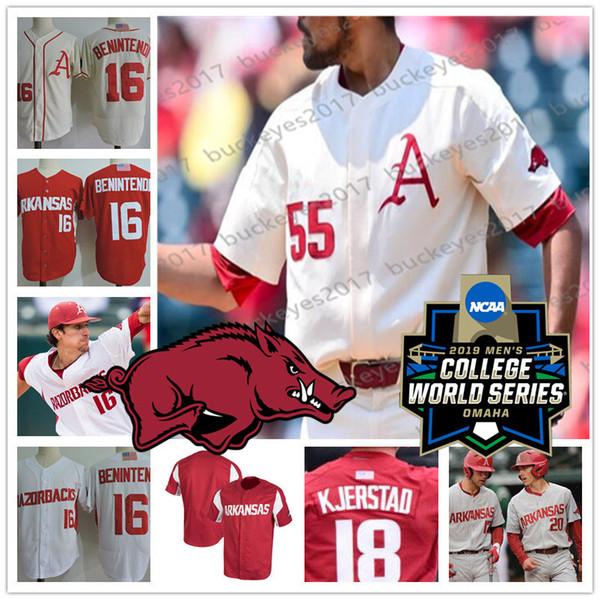 Custom Arkansas 2019 NCAA Baseball 29 Dallas Keuchel 11 Logan Forsythe 27 Cliff Lee Cream White Red Gray Any Name Number Jerseys