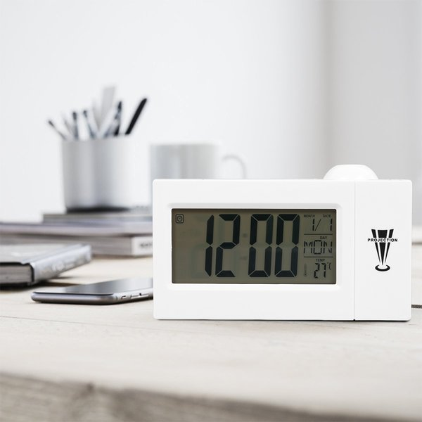LED Projection Alarm Clock Digital Electronic Clock with 7Different Texts Display Voice-activated Backlight Projector Desk Table