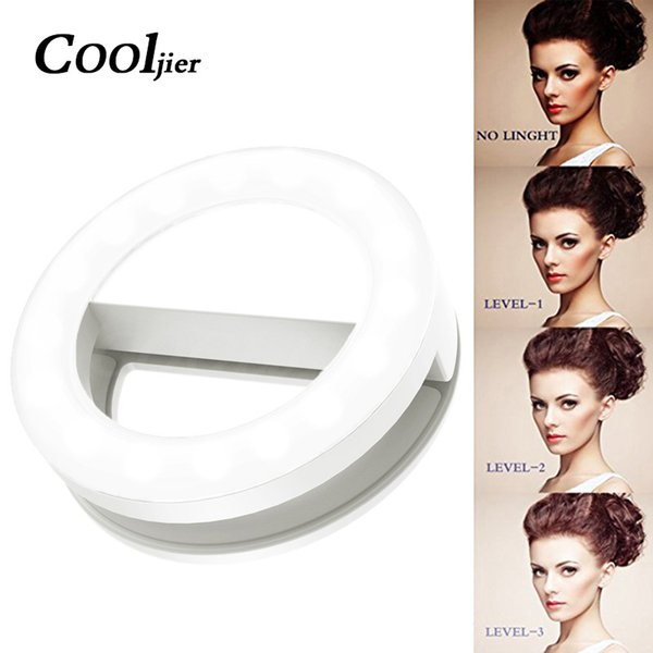 COOLJIER USB Charge Selfie Ring Light For iPhone LED Portable Ring Light Photography Enhancing Camera Selfie Light Flash Led