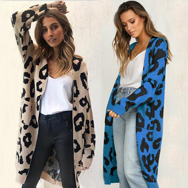 Hiver Automne Léopard Imprimer Tricoté Long Cardigan Femmes Style Décontracté Poche Ouverte Chandail Tops Outwear Jumper