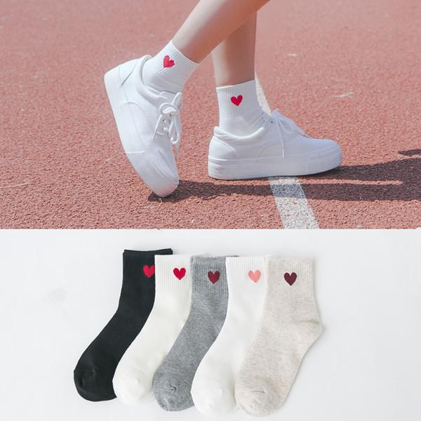 pattern Love Heart Harajuku Women Cotton Long Japanese Novelty 2019 New Fashion Pattern Socks Hiphop Solid Cotton Cool Russia Sock