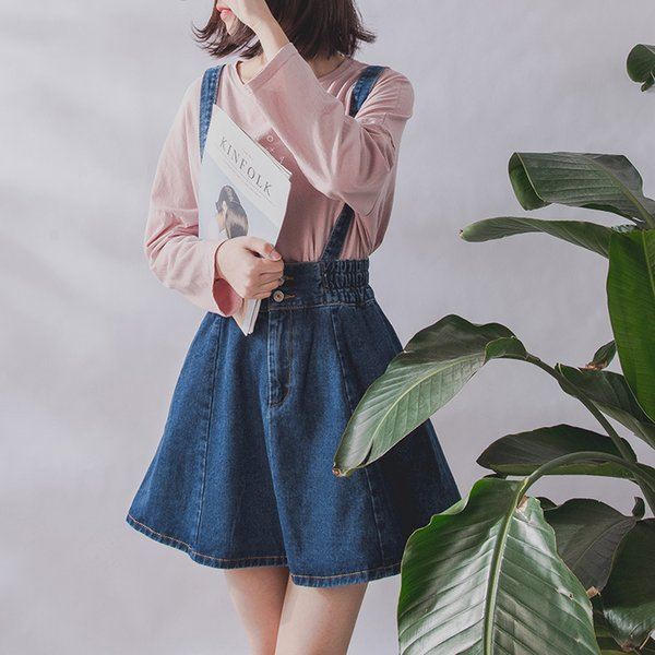 a16db1a7c 2019 Korean Summer Vintage Sweet Preppy Style Women Jeans Suspender Blue  Casual Denim Straps Overall Mini