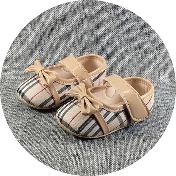 New Baby Girl Shoes Xadrez Bonito Princesa Bowknot Kid Anti-slip Em Sapatos 0-18 Meses da criança Berço Gancho Loop Primeiro Walkers