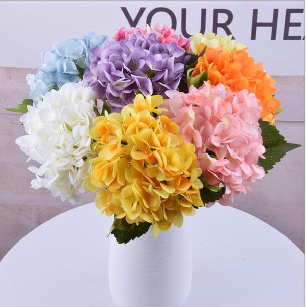 Künstliche Hortensienblume Gefälschte einzelne Hochzeit Hortensienblumenstrauß Faux Blumenblumen Pflanzen Blume 16 Farbe KKA6759