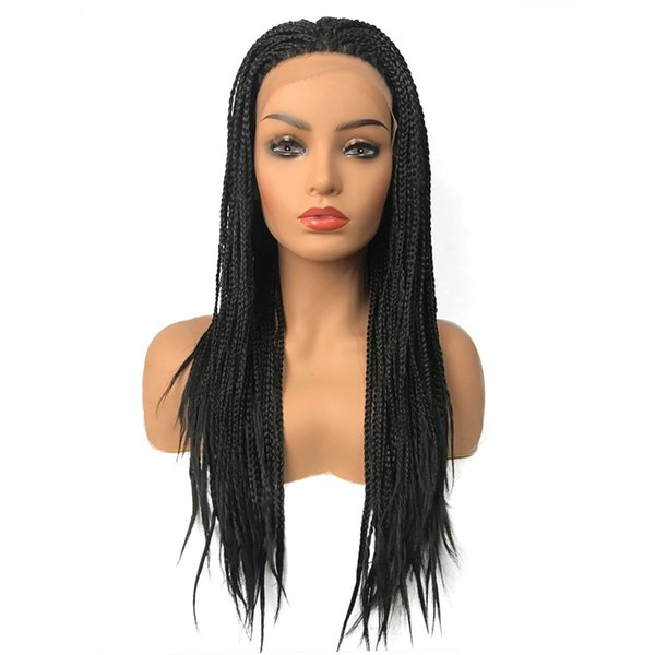 Natural Black 16-26inch Long Braided Hair Synthetic Lace Front Wig Handmade Collection Braided Wig With Baby Hair Box Braids for Black Women