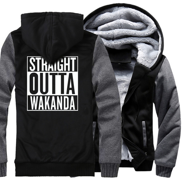 Sudadera de pantera negra para hombres 2018 Otoño Invierno Chaqueta Abrigo Straight Outta Wakanda Hip Hop Sudadera de hombre Chaquetas con cremallera