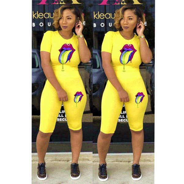 women clothing 2 piece set tracksuit Rainbow Lips Print Casual bodysuit summer T shirt Shorts two pieces woman set fashion sportswear C5802