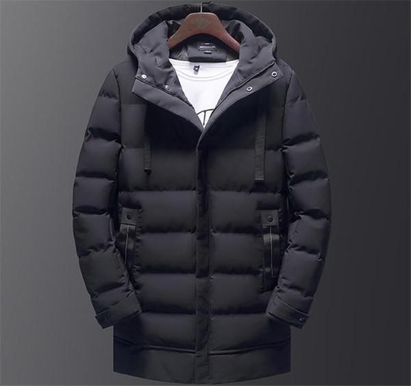 9d624cbd9 Invierno con capucha de color sólido para hombre abajo causales gruesos  chaquetas de los hombres para hombre Parkas largo medio con sombrero de  moda para ...
