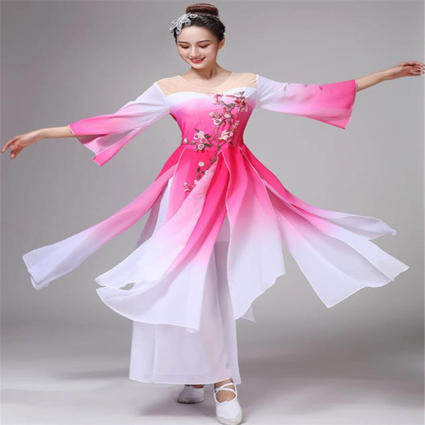 Festival Outfit Hot Classical Dance Costumes Female Umbrella Dance Fan Costume Fairy National Wind Clothes