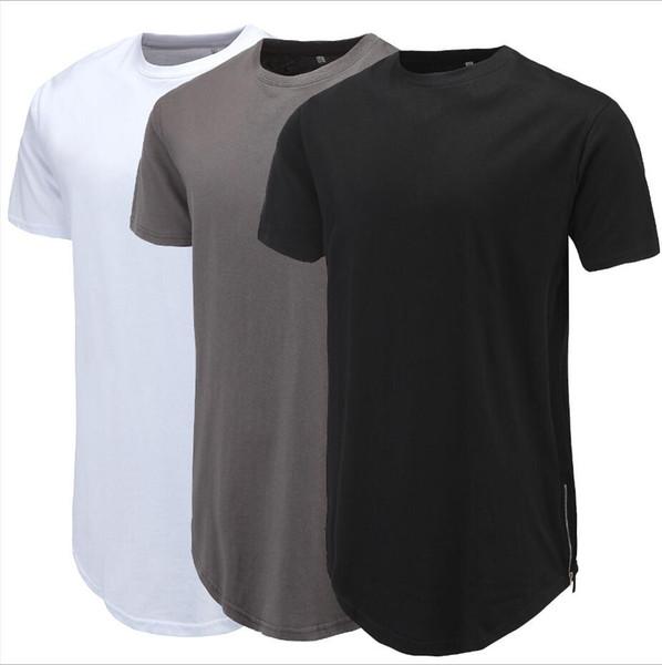 2019 новые европейские и американские модели взрыва мода мужская шею сплошной цвет сплит молния с коротким рукавом футболки