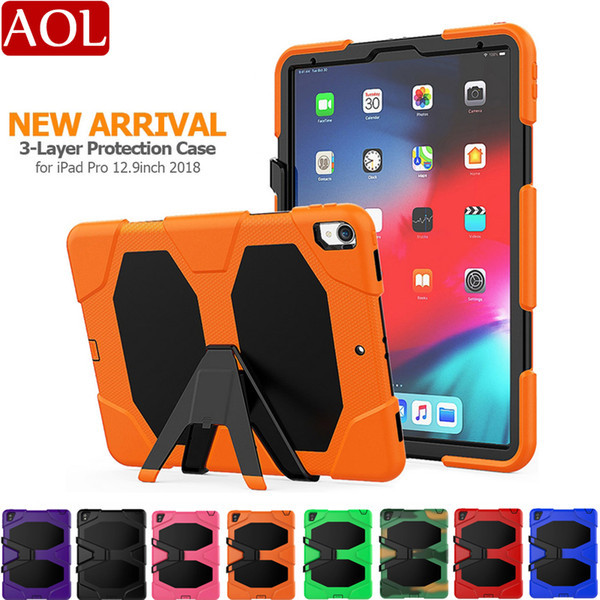 """For iPad Pro 12.9"""" 2018 Defender shockproof Robot Case military Heavy Duty silicone cover with stand screen protector"""