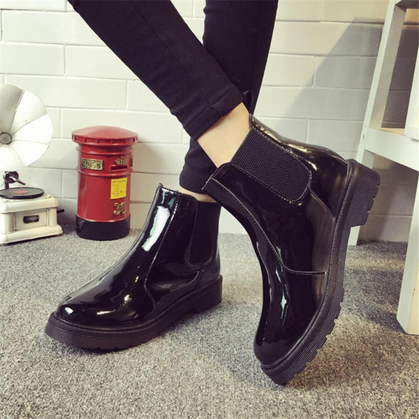 Wholesale-Brand Plus Size 40 Women Ankle Boots Flat Heels Casual Shoes Woman Patent Leather Boots School Style For Girls Black Motorcycle