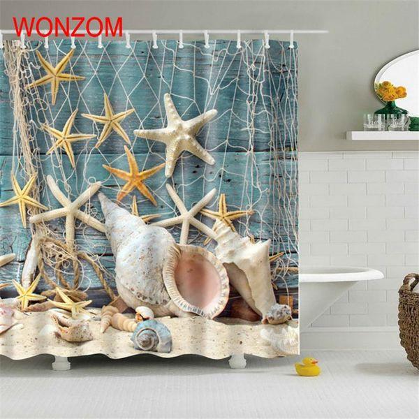 2019 Wonzom Marine Life Waterproof Shower Curtain Turtle Bathroom Decor Fish Decoration Cortina De Bano 2017 Bath Curtain Gift C18112201 From