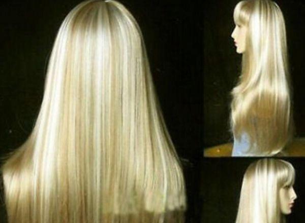 PERUK ücretsiz kargo AU426 uzun düz peruk altın sarışın mix sağlık saç peruk