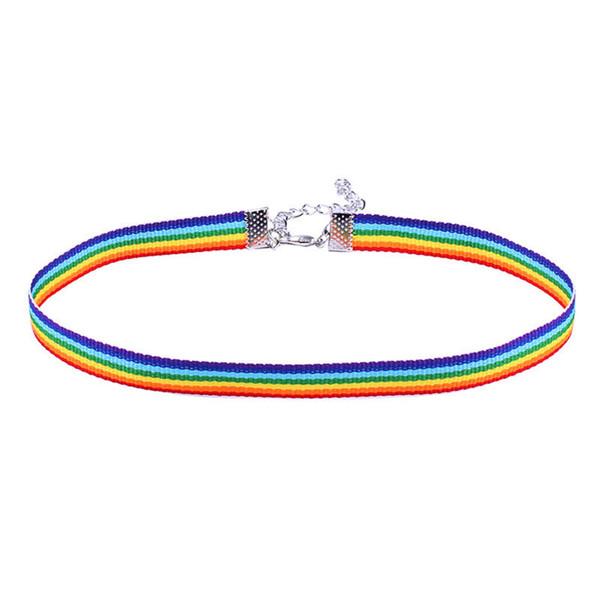 Designer de rendas colar colorido rainbow choker designer de jóias de luxo mulheres colar de moda hip hop jóias clavícula cadeia fita para homens