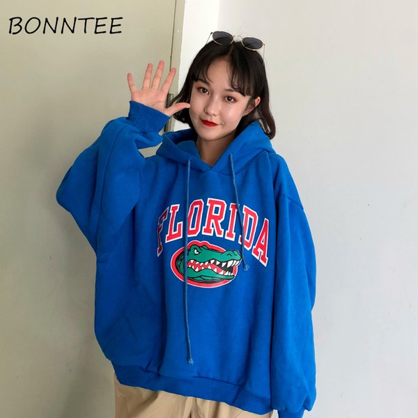 Hoodies Thicker Plus Velvet Letter Printed Harajuku Women Hooded Trendy Batwing Sleeve All-match Womens Korean Style Pullover SH190911