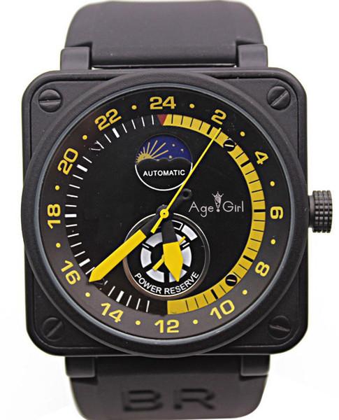 Nuevos Relojes para hombre Campana de caucho negro Br Automático Mecánico Auto Viento Edición limitada Aviación Día de la luna Reserva de energía Fase lunar