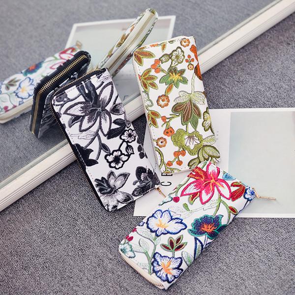 Bayan cüzdan ve çantalar kadınların Gündelik Çiçek Baskı Kart Sahibinin Billfold Çanta Cüzdan Çanta # g6