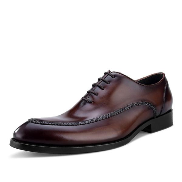 Avrupa Tarzı el yapımı Gerçek Deri Damat ayakkabı inek derisi İyi Erkek ayakkabı Oxfords İş Ayakkabı İtalyan Sivri Burun elbise ayakkabı Slip On