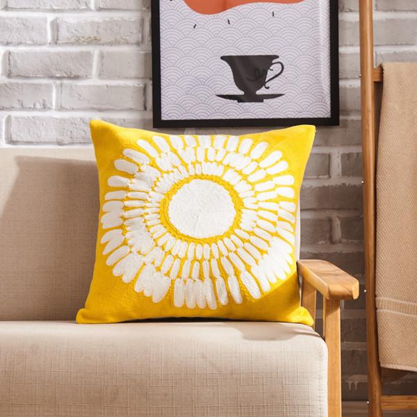 Nordic modern minimalist cotton canvas sun flower wool embroidery pillow sofa by core throw pillow cushion luxury pillows cushion S3
