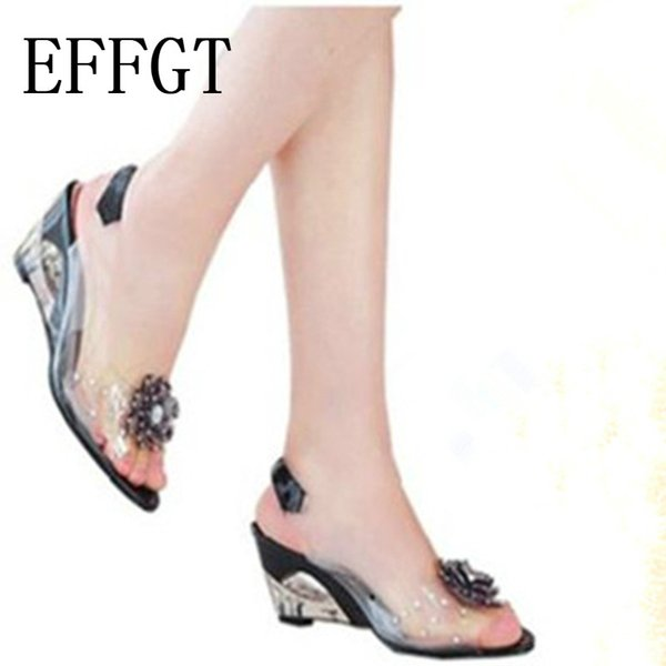 EFFGT 2019 Summer Hot Sale Rome stylish high quality fashion Women wedge heel sandals dress casual shoes High Heels Shoes