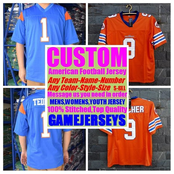 best selling Custom college american football jerseys mens womens youth kids soccer rugby stitched authentic jersey 4xl 5xl 6xl 7xl 8xl Outdoor wear sew