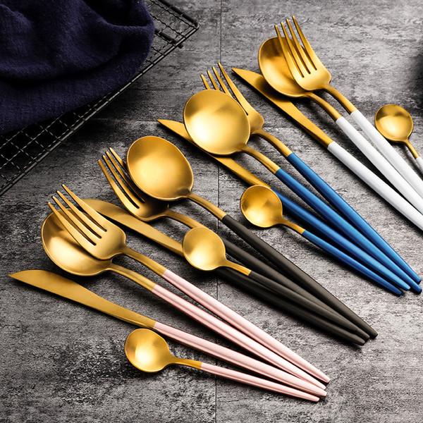 Set di posate in oro rosa Set di posate in acciaio inossidabile Set di posate per alimenti occidentali Forchetta da cucchiaino di lusso Set di posate per coltelli Cucchiaio da forchetta DLH219