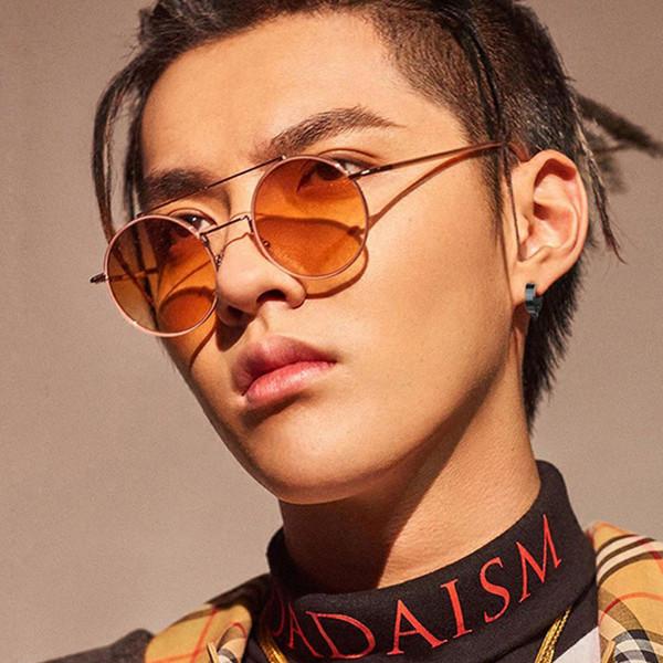 New Korean Harajuku Style Oversized Sunglasses Vintage Metal Round Sunglasses Women Sun Glasses Men Double Beams Black Red Pink