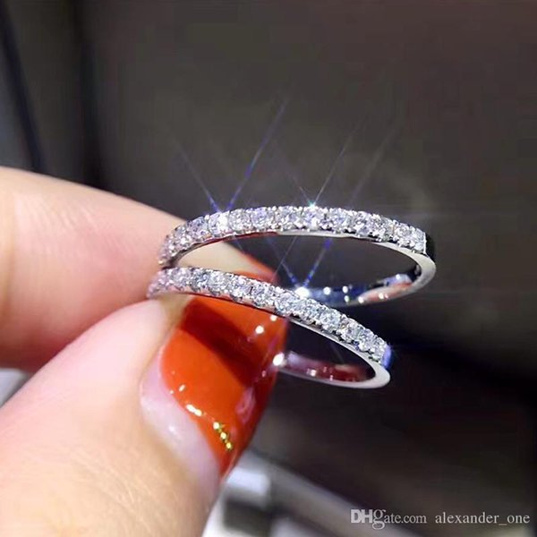 Pay4U New Fashion Hot Sale Genuine 925 Sterling silver CZ Stone Ring Fine Jewelry Simple Round Thin Ring for Women Element Ring size 4-9.5