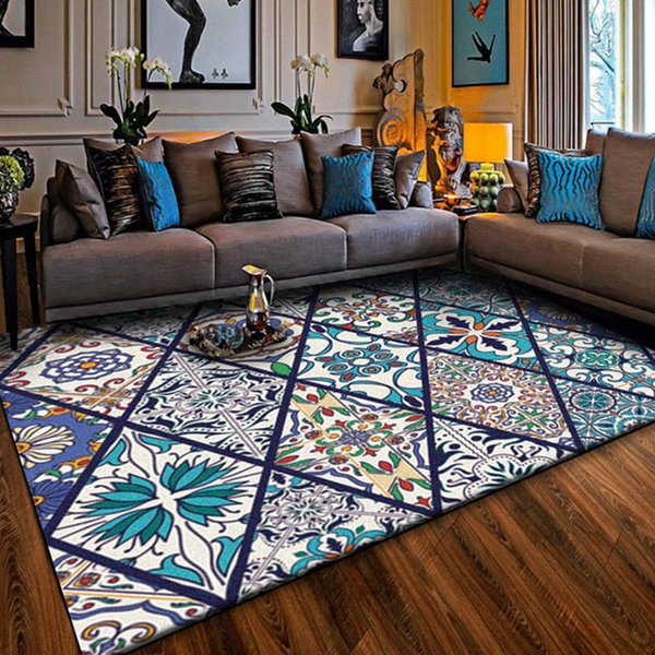 Vintage style Home Area Rugs and carpets for Living Room Rectangle Tapestry Bohemia Blue Floor Mat Washable Parlor Decor Carpet