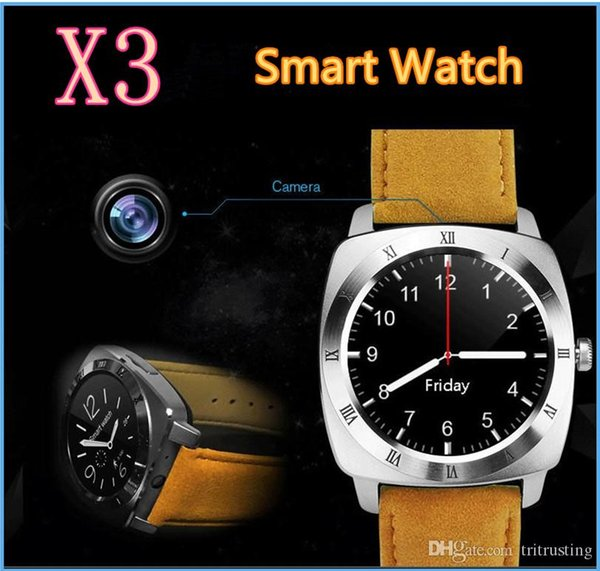 New X3 Smart Watch Pedometer Fitness Clock Camera SIM Card Mp3 Player man for IOS Android Watchphone Smart Watches DZ09 GT08 Y1 U8 MQ20