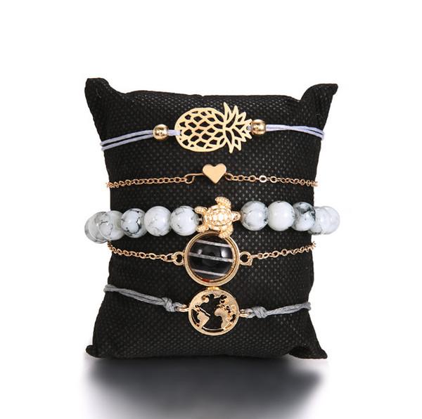 5 Pieces Bracelet Braided Rope Bracelet Waterproof String Ocean Surfer Bracelet Beaded Boho Chain Beads Gold Silver Rose Plated bea015