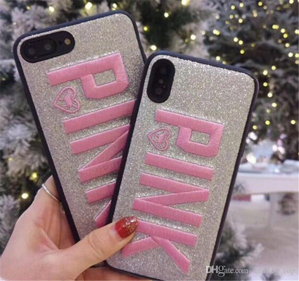 Pink Cover Fashion Design Glitter 3d Embroidery Love Pink Phone Case For Iphone X Iphone 8 For Samsung S9 S9 Plus