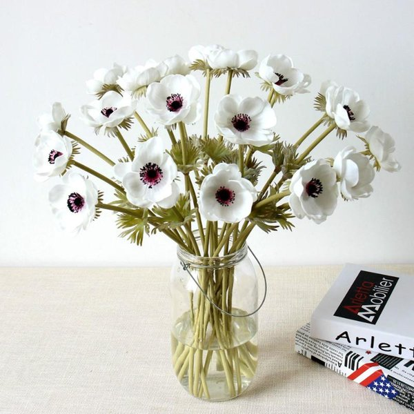 Poppies Artificial Flower Real Touch Bridal Wedding Bouquet Home Decoration