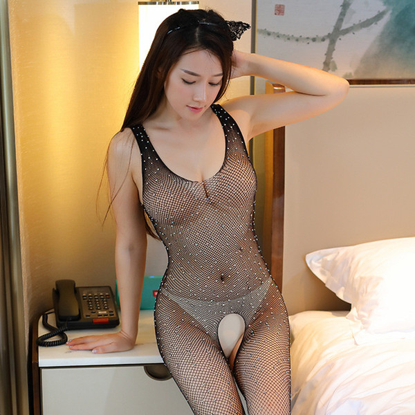 Bling Rhinestone Sexy Pantyhose Open Crotch Erotic Lingerie Sexy Fishnet Body Stockings Women Pole Dance Plus Size Tights