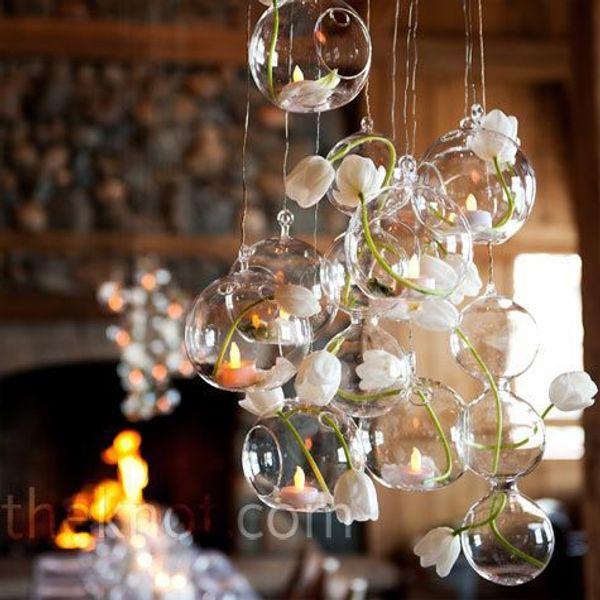 12 Teile / los Christbaumschmuck Hochzeit Bar Decor Weihnachtsschmuck für Zuhause Teelichthalter Glaskugel Kerzenhalter