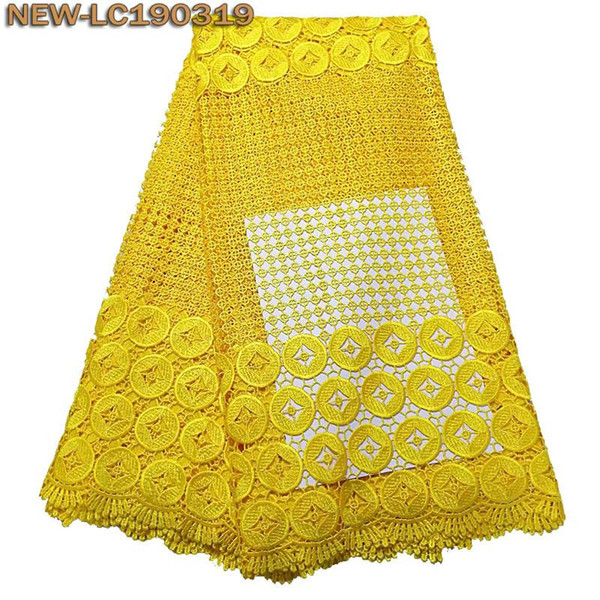 2019 High Quality Nigerian African Lace Fabric embroidered Guipure Cord Lace Fabric Yellow color Water Soluble Lace Fabric MSD1