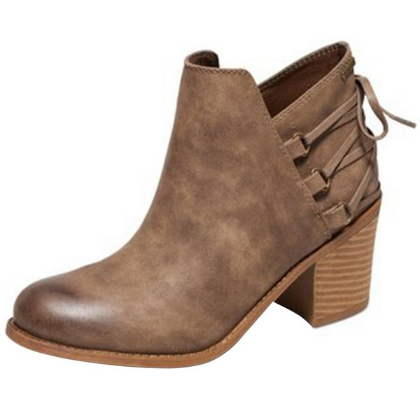 ADISPUTENT Frauen Stiefel High Heels Schuhe für weibliche kurze Stiefel Leder-Knöchel Knöchel Frauen Leder schnüren sich oben Marken-Dame