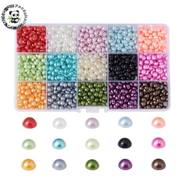 оптовые ABS пластиковые кабошоны бусины для изготовления ювелирных изделий DIY, имитация жемчуга, половина круглый, смешанный цвет, 6x3mm о 2700pcs / box.
