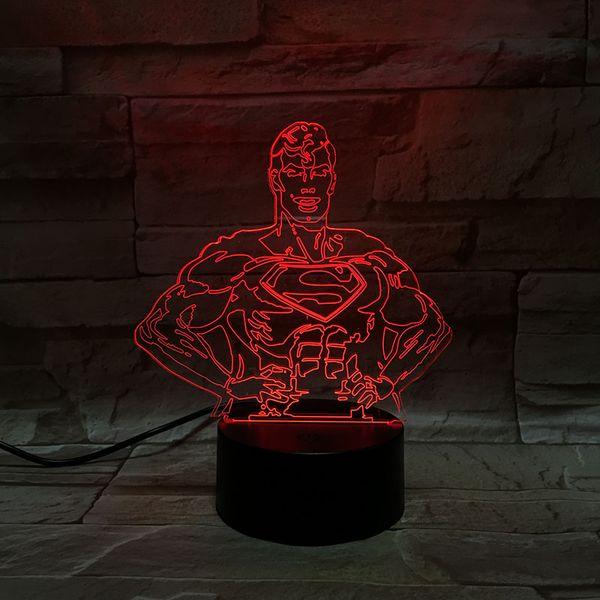Envío gratis 3D Night Light Movie Figura Superman Lámpara Home Hotel Decor Lámpara de mesa Luz de regalo de Navidad para niños Colorido Luz cambiable